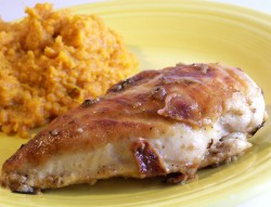 Bacon and Rosemary Chicken with Maple Mashed Sweet Potatoes