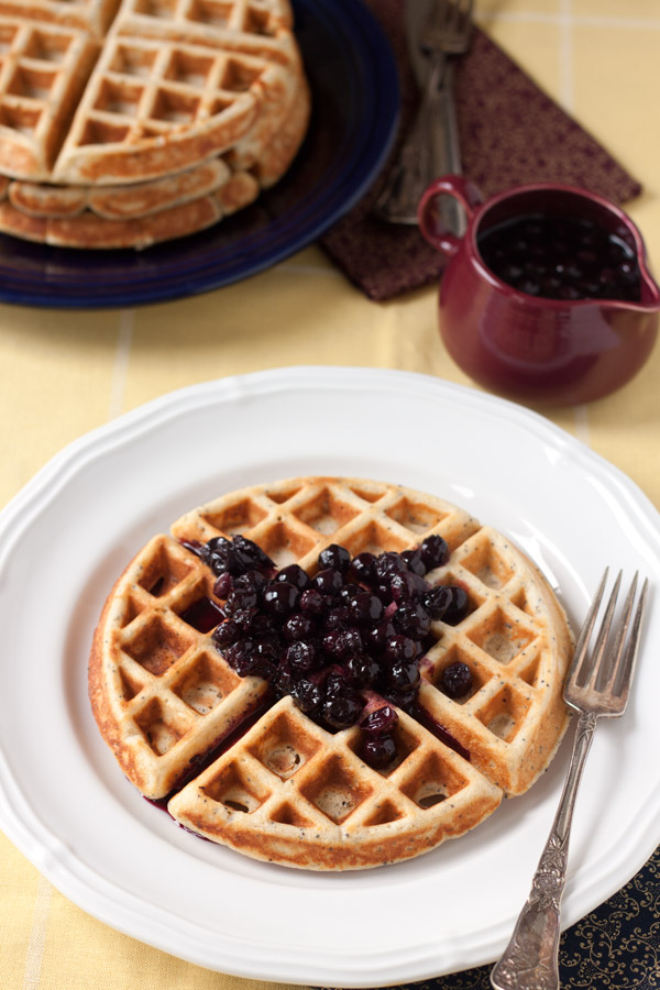 Lemon poppy seed waffles with blueberry syrup
