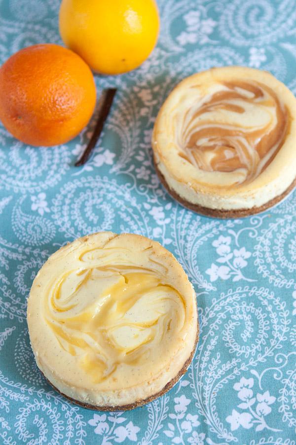 Lemon or Orange Swirled Vanilla Bean Cheesecake Recipe